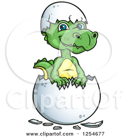 Clipart of a Cute Green Hatching Dinosaur - Royalty Free Vector Illustration by Vector Tradition SM