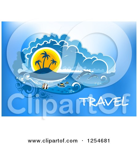 Clipart of a Tropical Island with Dolphins and Fish with Travel Text - Royalty Free Vector Illustration by Vector Tradition SM