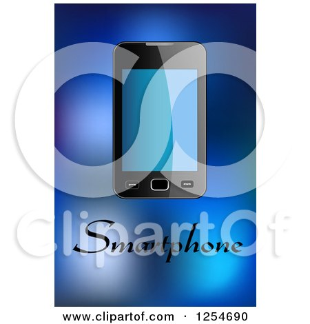 Clipart of a Smartphone with Text over Blue - Royalty Free Vector Illustration by Vector Tradition SM