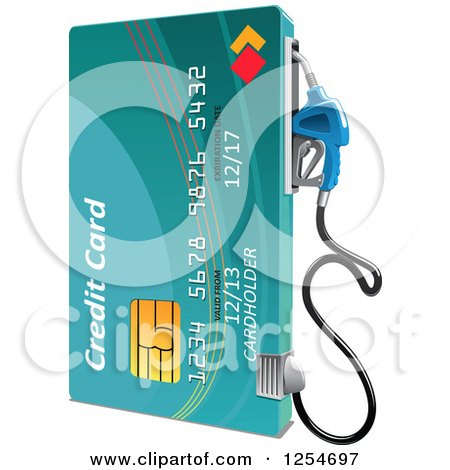 Clipart of a Credit Card Gas Pump - Royalty Free Vector Illustration by Vector Tradition SM