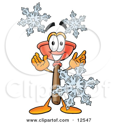 Clipart Picture of a Sink Plunger Mascot Cartoon Character With Three Snowflakes in Winter by Toons4Biz