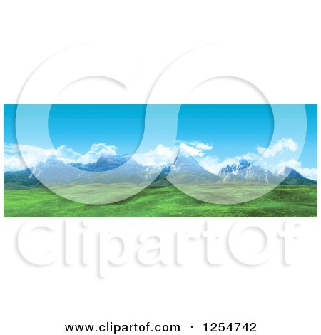 Clipart of a 3d Widescreen Mountain Range and Green Valley - Royalty Free Illustration by KJ Pargeter