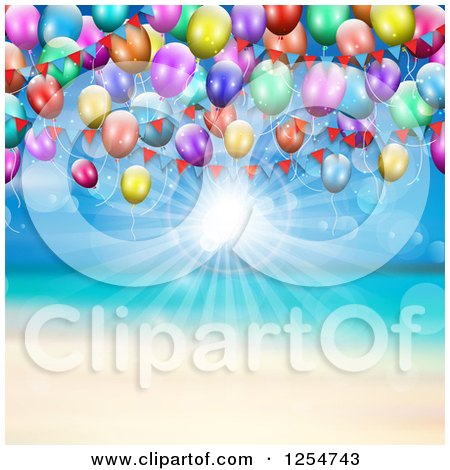 Clipart of a Beach with Sunshine and Party Balloons - Royalty Free Vector Illustration by KJ Pargeter