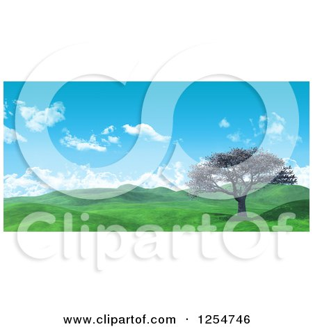 Clipart of a 3d Widescreen Landscape with a Cherry Tree and Lush Green Hilly Valley - Royalty Free Illustration by KJ Pargeter