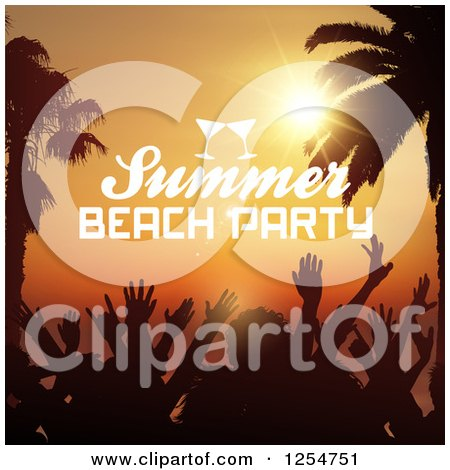 Clipart of a Crowd of Silhouetted Dancers with Palm Trees and Summer Beach Party Text - Royalty Free Vector Illustration by KJ Pargeter