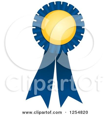 Clipart of a Blue and Yellow Award Ribbon - Royalty Free Vector Illustration by Amanda Kate