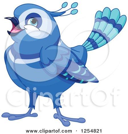 Cartoon of a Cute Fancy Happy Bluebird - Royalty Free Vector Clipart by Pushkin