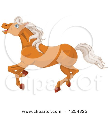 Cartoon of a Happy Horse Running - Royalty Free Vector Clipart by Pushkin