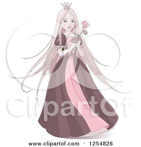 Cartoon Of A Pink Princess Holding A Rose Royalty Free Vector Clipart