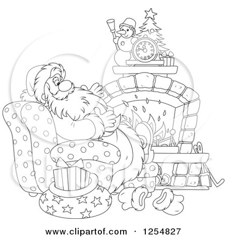 Cartoon of Black and White Santa Relaxing in Front of a Fireplace on Christmas Eve - Royalty Free Vector Clipart by Alex Bannykh