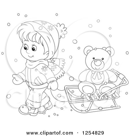 Cartoon of a Black and White Boy Pulling a Teddy Bear on a Sleigh - Royalty Free Vector Clipart by Alex Bannykh