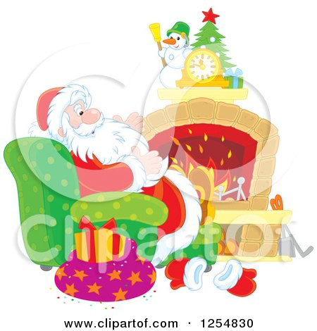 Cartoon of Santa Relaxing in Front of a Fireplace on Christmas Eve - Royalty Free Vector Clipart by Alex Bannykh