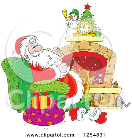 Cartoon of Santa Claus Relaxing in Front of a Fireplace on Christmas Eve - Royalty Free Vector Clipart by Alex Bannykh