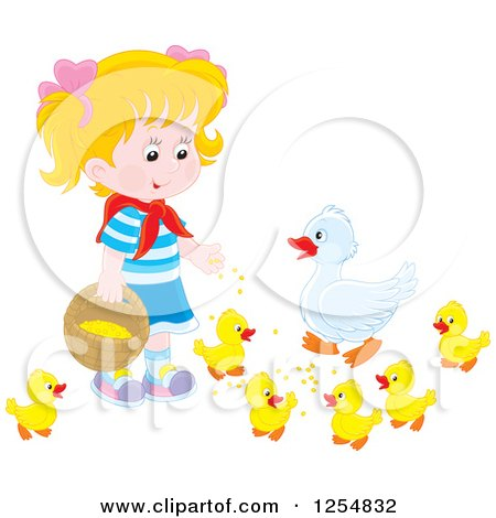 Cartoon of a Blond White Girl Feeding Ducks - Royalty Free Vector Clipart by Alex Bannykh