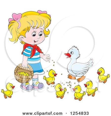 Cartoon of a Blond Caucasian Girl Feeding Ducks - Royalty Free Vector Clipart by Alex Bannykh