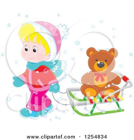 Cartoon of a Blond White Boy Pulling a Teddy Bear on a Sleigh - Royalty Free Vector Clipart by Alex Bannykh