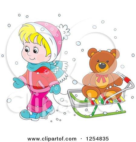 Cartoon of a Blond Caucasian Boy Pulling a Teddy Bear on a Sleigh - Royalty Free Vector Clipart by Alex Bannykh