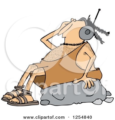Clipart of a Caveman Wearing Headphones and Listeing to Music on a Rock - Royalty Free Vector Illustration by djart