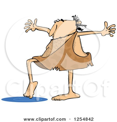 Clipart of a Caveman Testing Water with a Toe - Royalty Free Vector Illustration by djart