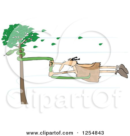 Clipart of a Caveman Holding onto a Snake on a Tree in a Wind Storm - Royalty Free Vector Illustration by djart