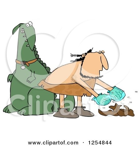 Clipart of a Caveman Cleaning up Dinosaur Poop - Royalty Free Illustration by djart