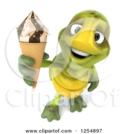 Clipart of a 3d Tortoise Holding up an Ice Cream Cone - Royalty Free Illustration by Julos