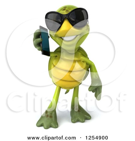 Clipart of a 3d Tortoise Wearing Sunglasses and Talking on a Cell Phone - Royalty Free Illustration by Julos