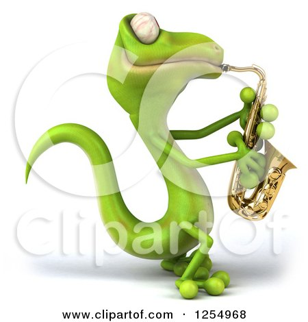 Clipart of a 3d Green Gecko Playing a Saxophone - Royalty Free Illustration by Julos