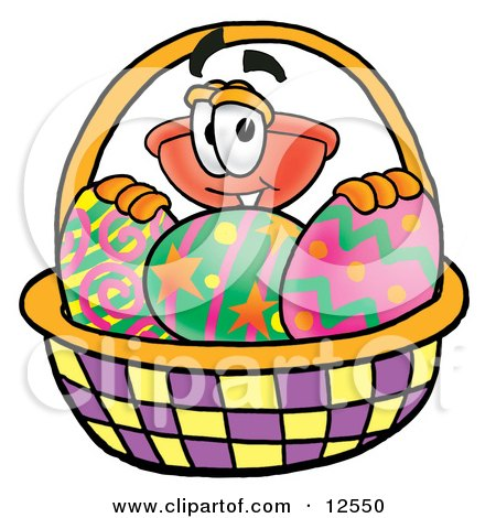 Clipart Picture of a Sink Plunger Mascot Cartoon Character in an Easter Basket Full of Decorated Easter Eggs by Toons4Biz