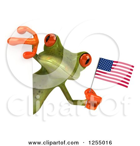 Clipart of a 3d Green Frog Holding an American Flag Around a Sign - Royalty Free Illustration by Julos