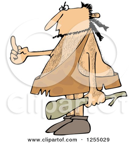 Clipart of a Hairy Caveman Holding a Club and Flipping the Bird - Royalty Free Vector Illustration by djart