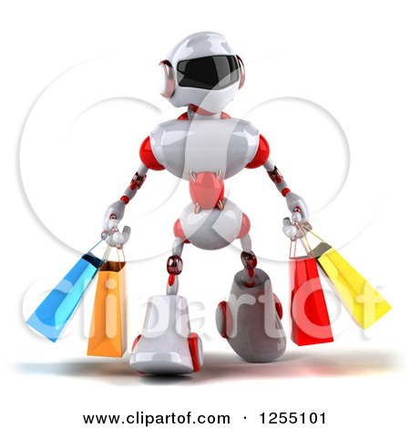 Clipart of a 3d White and Red Robot Carrying Shopping Bags - Royalty Free Illustration by Julos
