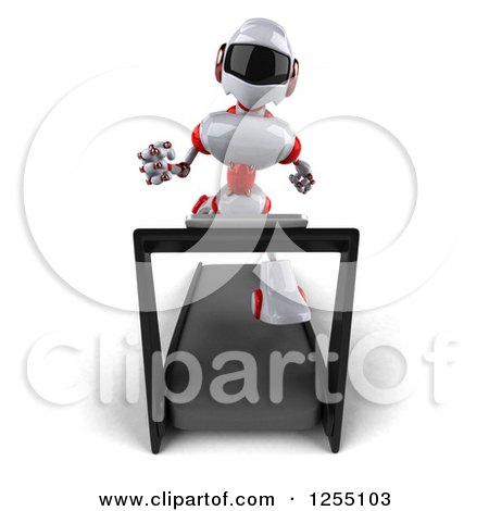 Clipart of a 3d White and Red Robot Running on a Treadmill - Royalty Free Illustration by Julos