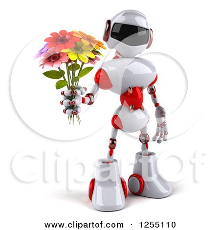 Clipart of a 3d White and Red Robot Holding up a Flower Bouquet - Royalty Free Illustration by Julos