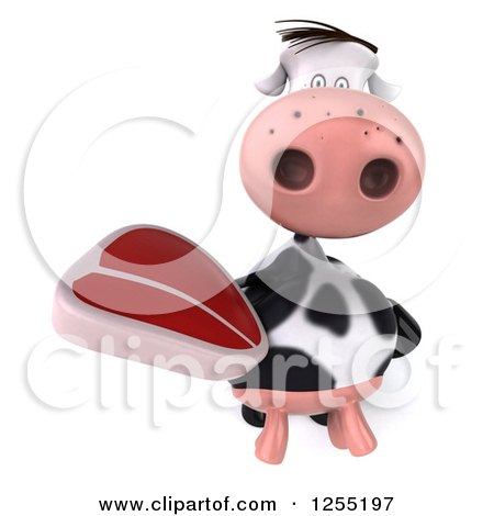 Clipart of a 3d Cow Holding up a Beef Steak - Royalty Free Illustration by Julos