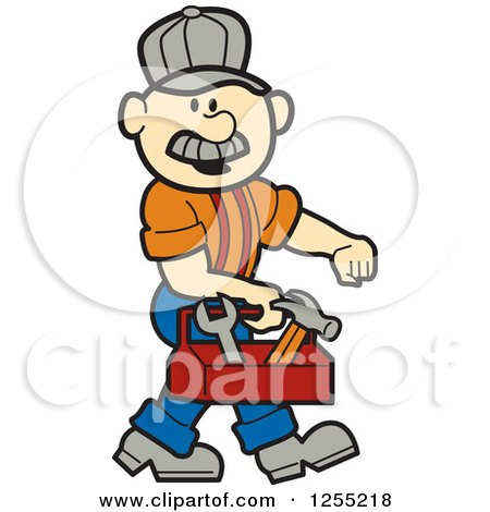 Clipart of a Male Caucasian Handyman Carrying a Tool Box - Royalty Free Vector Illustration by Andy Nortnik