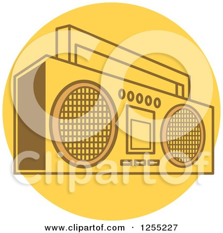 Clipart of a Retro Boom Box Radio on a Yellow Circle - Royalty Free Vector Illustration by Andy Nortnik
