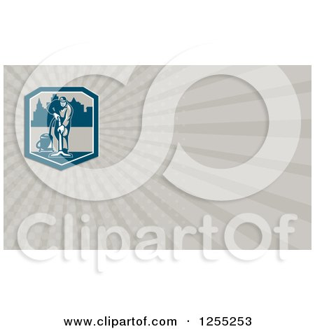Clipart of a Retro Janitor Vacumming Business Card Design - Royalty Free Illustration by patrimonio