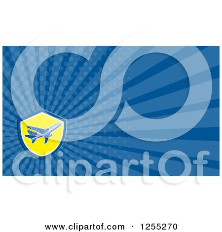Clipart of a Retro Airplane Business Card Design - Royalty Free Illustration by patrimonio