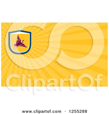 Clipart of a Retro Crane Business Card Design - Royalty Free Illustration by patrimonio