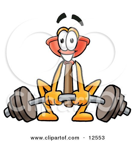 Clipart Picture of a Sink Plunger Mascot Cartoon Character Lifting a Heavy Barbell by Toons4Biz