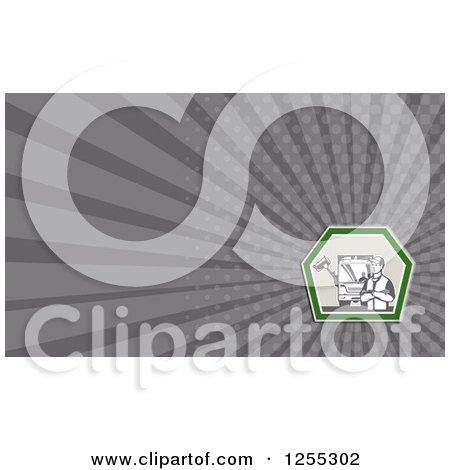 Clipart of a Retro Garbage Man Business Card Design - Royalty Free Illustration by patrimonio