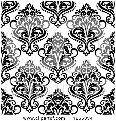 Clipart of a Seamless Black and White Damask Pattern Background - Royalty Free Vector Illustration by Vector Tradition SM