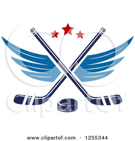 Clipart of a Puck and Winged Crossed Hockey Sticks - Royalty Free Vector Illustration by Vector Tradition SM