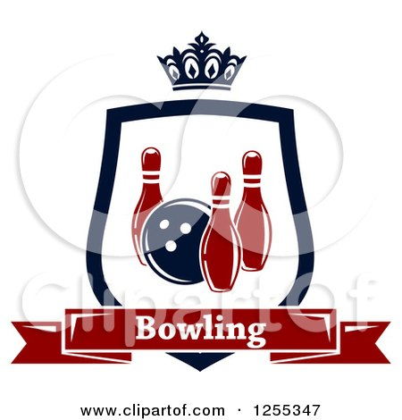 Clipart of a Bowling Shield with a Crown and Text Banner - Royalty Free Vector Illustration by Vector Tradition SM