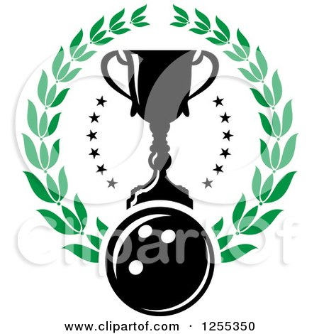 Clipart of a Bowling Ball and Trophy Cup in a Laurel Wreath - Royalty Free Vector Illustration by Vector Tradition SM