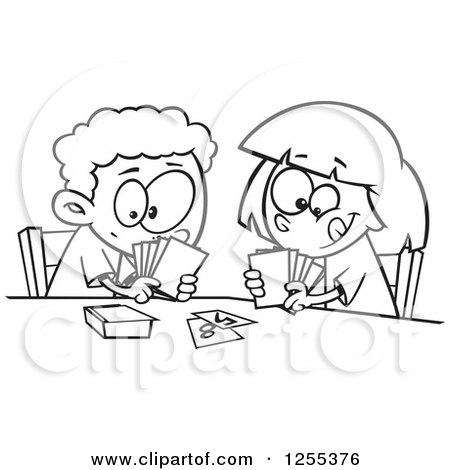 Clipart of a Black and White Boy and Girl Playing a Go Fish Card Game - Royalty Free Vector Illustration by toonaday