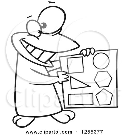 Clipart of a Black and White Happy Penguin Holding Shapes - Royalty Free Vector Illustration by toonaday
