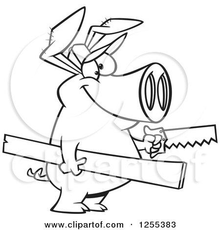 Black and White Carpenter Pig Holding Lumber and a Saw Posters, Art Prints
