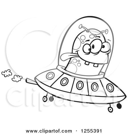 Clipart Of A Black And White Alien Flying A Ufo